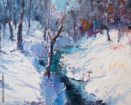 Art Oil Painting Winter Landscape. The Awakening of Nature. Spring is coming. © shvets_tetiana