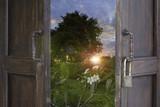 abstrakcyjne stare okna drewna otwarte na wschód słońca w parku - mogą służyć do wyświetlania lub montage na produkcie