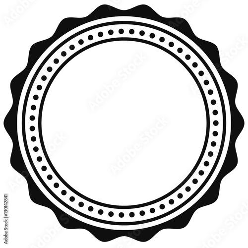 Badge, seal element. Contour of circular certificate, medal - 130142841