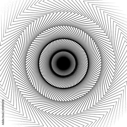 Wavy, zig-zag radial lines. Abstract circular pattern - 130143218