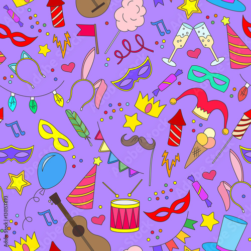Cotton fabric Seamless pattern on the theme of masquerade and carnival , simple painted icons on a purple background