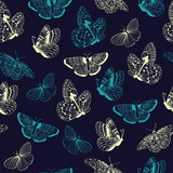 Seamless pattern of butterflies silhouettes