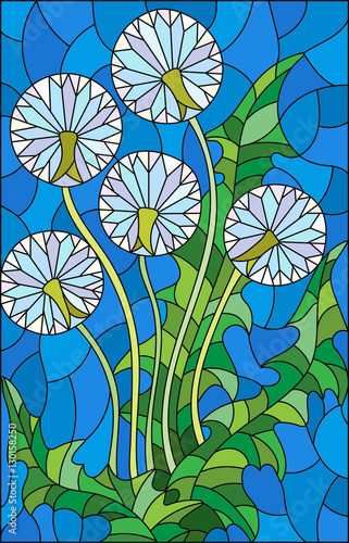 illustration-in-stained-glass-style-flower-of-blowball-on-a-blue-background