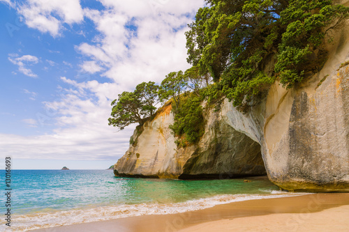 Staande foto Cathedral Cove Cave in a rock on a beach