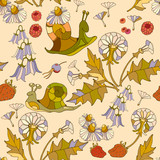 Summer floral pattern in doodle style. Floral seamless pattern - 130178045
