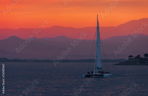 Aluminium Oranje eclat Colorful sunset. Dramatic and Atmospheric landscape. Costa Brava