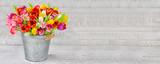 Blumenstrauß - Tulpen in einem Zinkeimer - 130189425