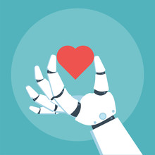 Robot Arm Hold Heart Sticker