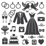 Wedding silhouette icons 2 - 130194817