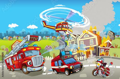 scena-kreskowki-z-roznych-maszyn-do-gaszenia-pozarow-ciezarowka-i-smiglowiec-kolorowy-i-wesoly-sceny-ilustracja-dla-dzieci