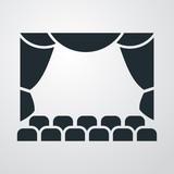 Icono plano teatro en fondo degradado