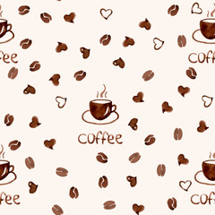 Vector seamless pattern with watercolor coffee and heart
