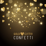 Luxury falling shiny and gold metallic heart shaped confetti. Vector illustration.