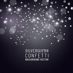 Luxury Celebrations background with falling pieces of metallic silver glitter and confetti, vector illustration.
