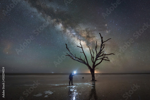 Man Light Painting Ominous Tree Under The Milky Way Galaxy Poster