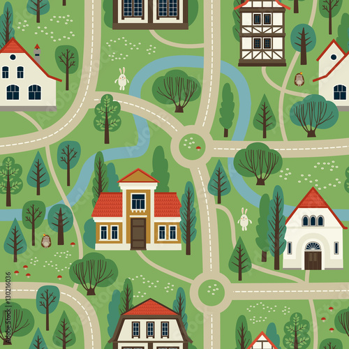 Foto op Aluminium Op straat Illustration city map. Cartoon. Seamless pattern