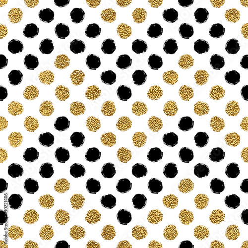 Seamless pattern of gold glitter and black chevron of circle, hand drawn background of golden and black zig zag, vector pattern for wedding invitation, card, holiday, wrapping, textile, web design - 130221406
