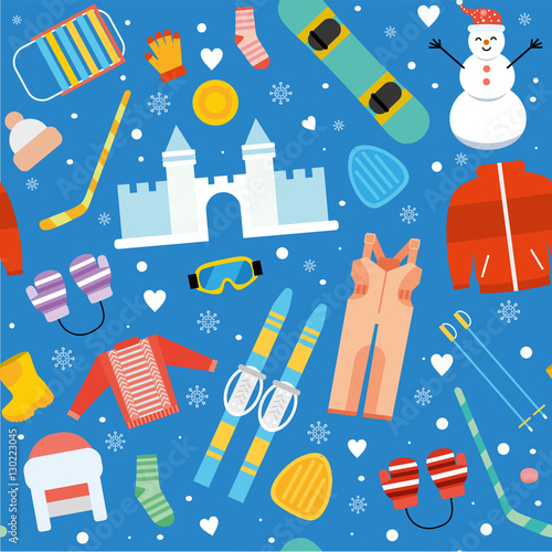 Materiał do szycia Winter kids activity seamless pattern. Sports child snowboarding, skiing outdoor and vacation pattern background. Winter sports and activity wallpaper in flat design.