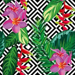 Beautiful seamless tropical jungle floral pattern background with palm leaves and flowers. Abstract striped geometric texture. Vector illustration.