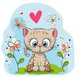Cute Kitten with flowers