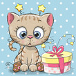 Greeting card cute Kitten with gift