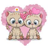 Fototapety Two Cute Cartoon Kitten