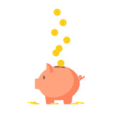 Pig piggy bank with coins vector illustration  - 130241820