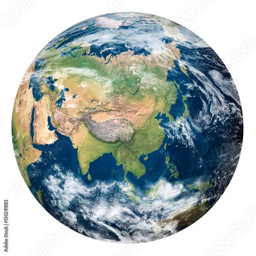 Plexiglas Planet Earth with clouds, Asia - Pianeta Terra con nuvole, Asia
