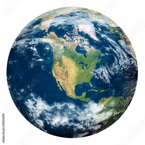Fotobehang Nasa Planet Earth with clouds, North America - Pianeta Terra con nuvole, Nord America