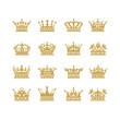 Gold crown icons symbol set vector illustration