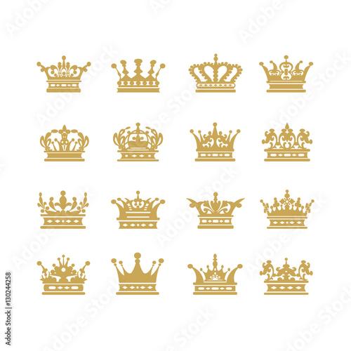 Gold Crown Icons Symbol Set Vector Illustration Buy Photos Ap