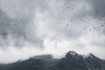 Gloomy mountain landscape. Matte photo processing.