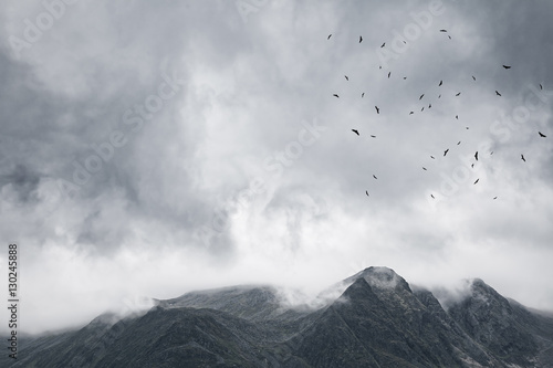 Gloomy mountain landscape. Matte photo processing. - 130245888