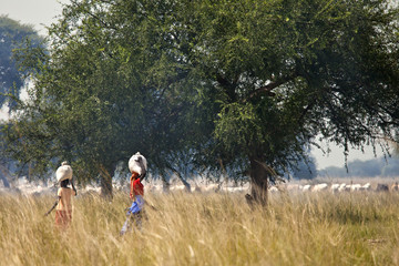 Women carrying loads in South Sudan