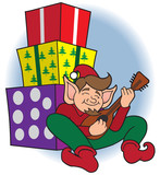 Christmas elf is taking a break and doing a little strumming
