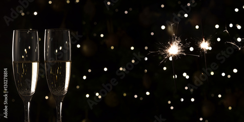 new year champagne banner sparks