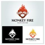 Monkey fire logo design template ,Vector illustration
