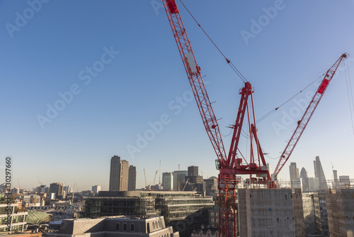 Staande foto London London City construction site overview Goldman Sachs HQ