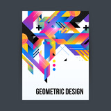 Poster/cover design template with shiny geometric shapes on white background.