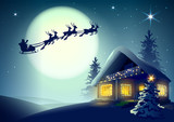 Fototapety Silhouette Santa Claus and reindeer flying over Christmas house in winter forest
