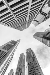 Skyscrapers of Central Business District of Singapore. Black and white photo