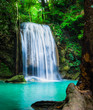 Erawan waterfall, the beautiful waterfall in forest at Erawan National Park - A beautiful waterfall on the River Kwai. Kanchanaburi, Thailand - 130331406