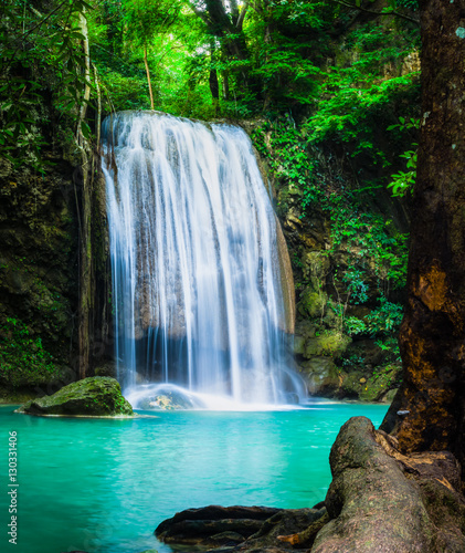 Fototapeta Erawan waterfall, the beautiful waterfall in forest at Erawan National Park - A beautiful waterfall on the River Kwai. Kanchanaburi, Thailand