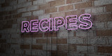 RECIPES - Glowing Neon Sign on stonework wall - 3D rendered royalty free stock illustration.  Can be used for online banner ads and direct mailers..