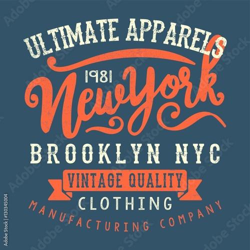 Fotobehang Vintage Poster vintage style new york typography tee print