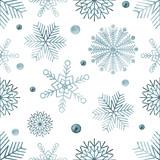 Watercolour snowflakes seamless pattern - 130360688