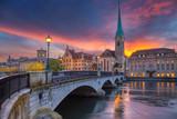 Zurich. Cityscape image of Zurich, Switzerland during dramatic sunset. - 130365821