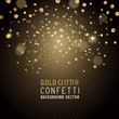 Luxury Celebrations background with falling pieces of metallic gold glitter and confetti, vector illustration.