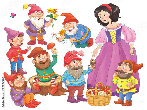 The Snow White and seven dwarfs. Fairy tale. Illustration for children