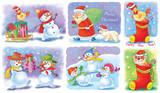 Set of Christmas greeting cards. Cute Santa, snowmen, rooster, white bears. Illustration for children